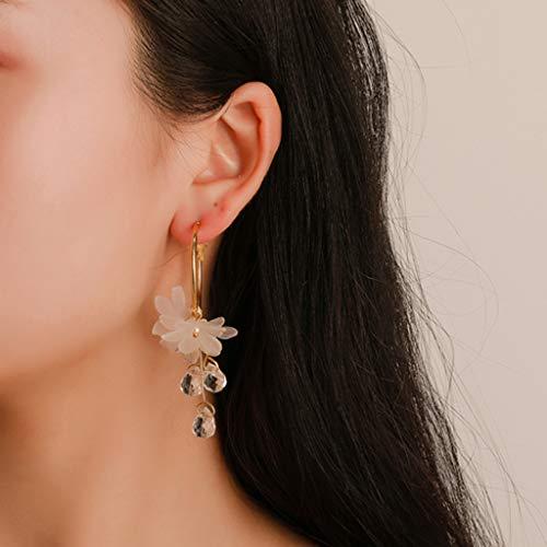 Uplord Fashionable Earrings,Sweet Temperament White Flower Crystal Pendant Metal Earrings Ladies Jewelry