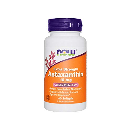 NOW Supplements, Astaxanthin 10mg, Extra Strength,derived from Non-GMO Haematococcus Pluvialis Microalgae and has naturally occurring Lutein, Canthaxanthin and Beta-Carotene, 60 -