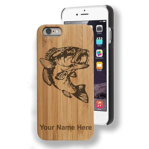 - Bamboo case Compatible with iPhone 7 and iPhone 8, Bass Fish, Personalized Engraving Included