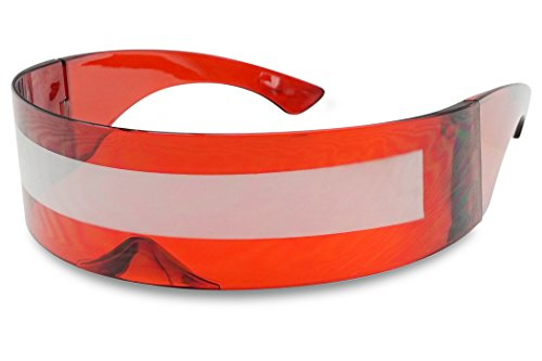 Black Retro Futuristic Single Shield Color Oversized Wrap Cyclops/Visor Sunglasses (Red, Silver Mirror)