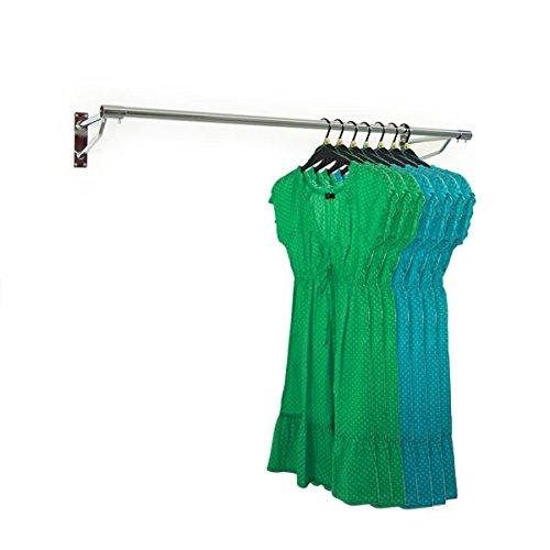 The Shopfitting Shop 5ft Long Wall Mounted Clothes Rail Chrome Garment Hanging Rack 32mm Tube