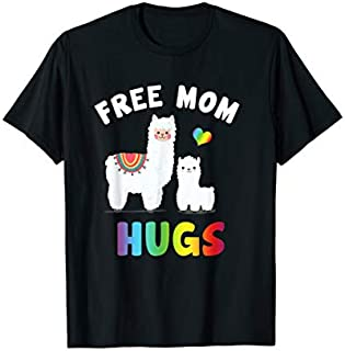 Free Mom Hugs Llama LGBT Gay Pride Rainbow Flag Funny T-shirt | Size S - 5XL