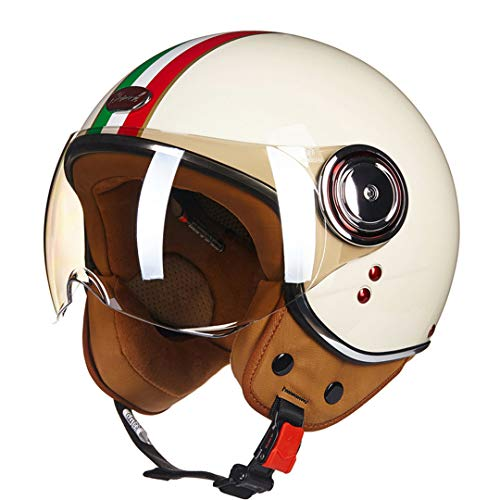 Motorcycle Helmet Men's Vintage Scooter Open Face Helmet Retro Women's Motorbike Helmet Italy Flag L