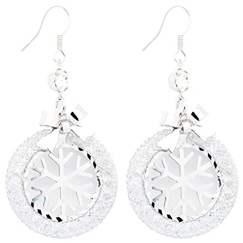 Fashion Silver Tone Mesh Crystal Round Hollow Hoop Dangle Earrings Snow Flame Cubic Zirconia Crystal Rhinestone Drop Earrings
