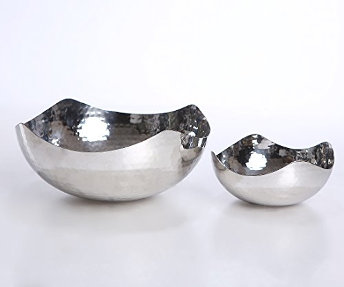 James Scott Hammered Set of 2 Stainless Steel Bowls, Set Includes 6 Inch And 10 Inch Bowls by James Scott