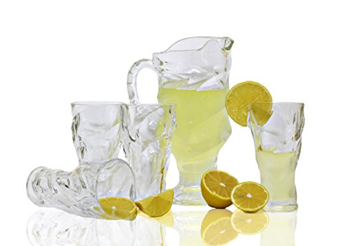 Bezrat Sangria, Tea, Lemonade and Juice Glass Water Pitcher with Spout, 7-Piece Entertainment Set (Crystal Pitcher Set)