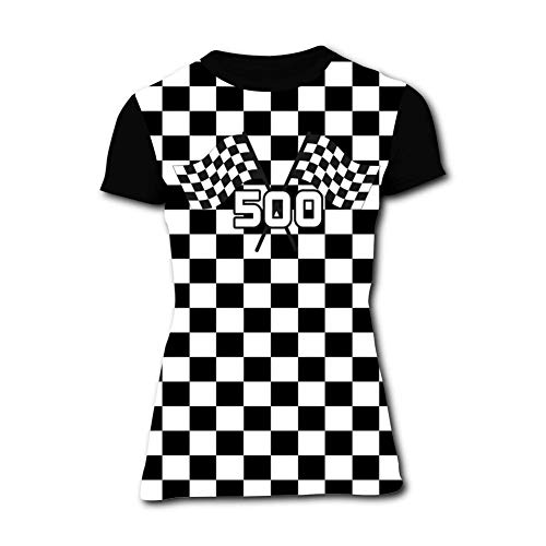 Women's T-Shirts Black and White Squares Race Car Flag 3D Floral Print Casual Tops for Women Tees ()