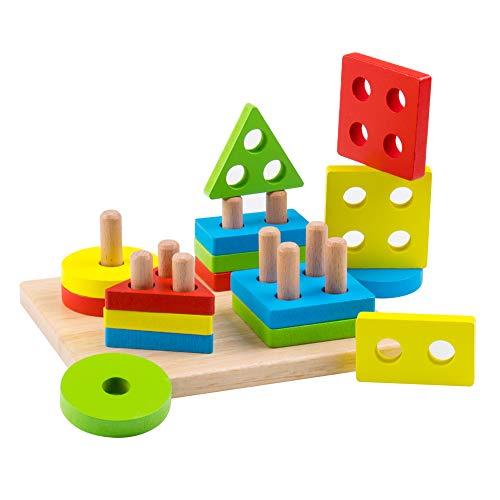 Educational Wooden Preschool Toddler Toys Shape Color Recognition Board Blocks Stacking Sort for Kids Children