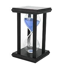 Wooden Sand Clock Sandglass Hourglass Timer for Decoration 30 Min (Blue)