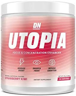 De Novo Utopia – Focus Enhancing Powder Energy Drink, 30 Servings, Contains Caffeine, Citicoline, Vitamin C, Mucuna and Huperzine Brain Booster Strawberry Kiwi