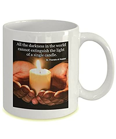 Light of a candle. Inspirational gift. St. Francis of Assisi quote. White ceramic mug. (St Francis Of Assisi Candle)