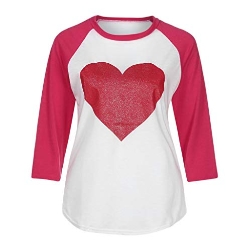 Pandaie Women Jacket,Women Long Sleeve Round Neck Love Heart Printing Shirt Top Blouse XL by Pandaie (Image #5)