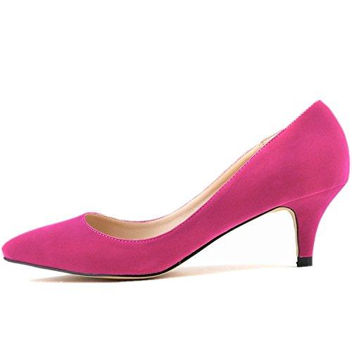 SAMSAY Women's Slender Kitten Heels Pointed Toe Pumps Court Shoes - Leather And Velvet Pump