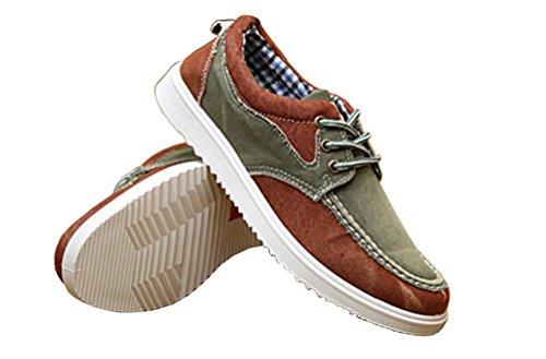 VECJUNIA Herren Kontrast Farbe Lace Up Canvas Schuhe Grün