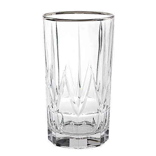 Lorren Home Trends 262330-SL Chic Set of 6 High Ball Tumblers with Platinum Trim, One Size Clear