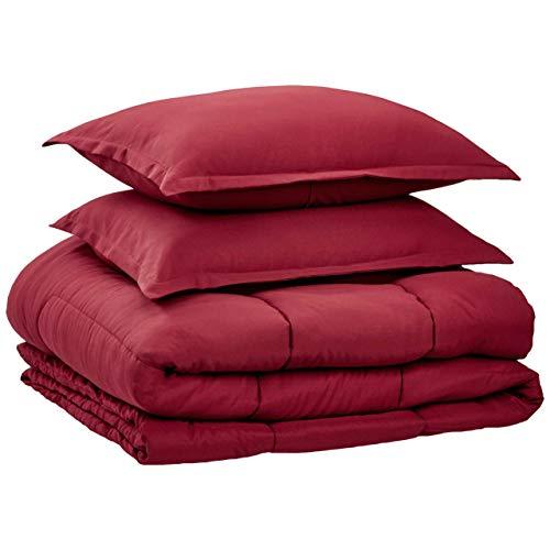 AmazonBasics Comforter Set, King, Burgundy, Microfiber, Ultra-Soft