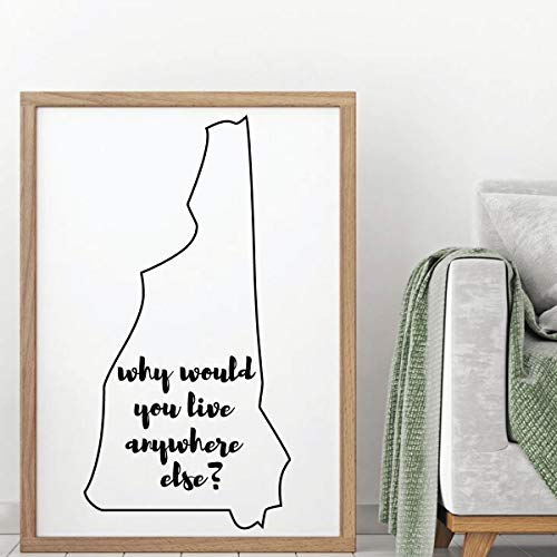 (Dozili New Hampshire Wall Decal - Why Would You Live Anywhere Else - State Vinyl Art Silhouette for Home Decor Living Room or Family Room 24
