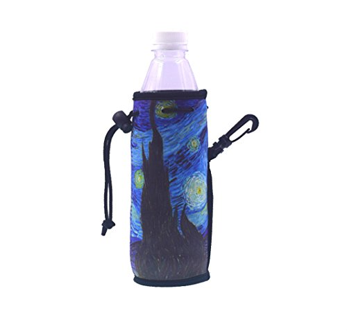 (E-Living 500ML (16.9 OZ) Collapsible Neoprene Water Bottle Drawstring Cooler/Coolie/Cover/Insulator/Holder/Huggie/Sleeve - 2 Pack (10 Colors) (Starry Night))
