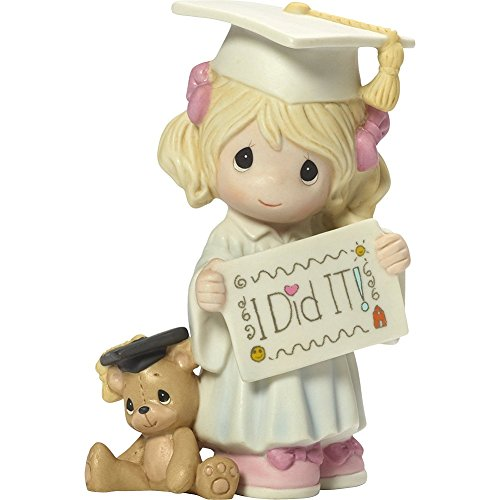 Girl Bear Figurine - Precious Moments I Did It Graduation Girl With Teddy Bear Bisque Porcelain Home Decor Collectible Figurine 173014