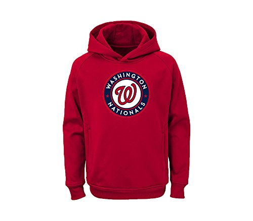 Outerstuff MLB Youth Team Color Performance Primary Logo Pullover Sweatshirt Hoodie (Small 8, Washington Nationals)