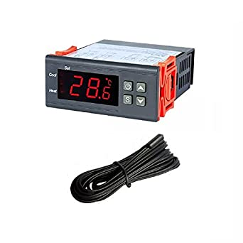 Jaybva Digital Temperature Controller for Freezer STC-1000 PID Thermostat Meter with NTC Sensor Temperature Probe Cooling Heating 2 Relays Output AC 110V