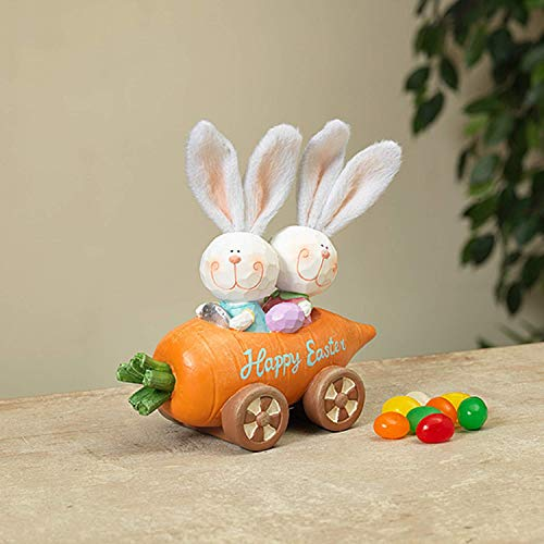 Gerson Happy Easter Bunny in Carrot Car Figurine