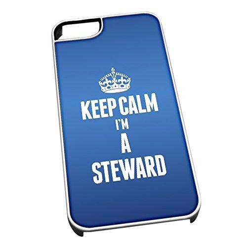 Bianco Cover per iPhone 5/5S Blu 2683Keep Calm I m A Steward