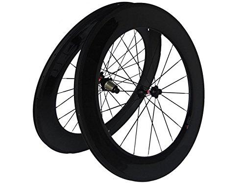 Flyxiiフルカーボン3 Kロードバイク自転車クリンチャーホイールセット88 mmホイールリムスポークハブfor Shimano 8 / 9 / 10 / 11s B01H29926O