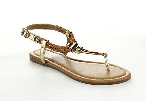 Sandalo Infradito Amanda 33 Da Donna Leggero Infradito In Cammello E Bianco (cammello, 6.5)