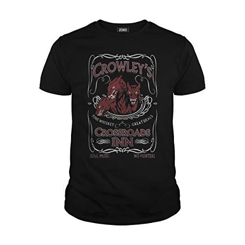 Men's Crowley Crossroads INN Sam Dean Winchester T-Shirt (2XL, Black) -