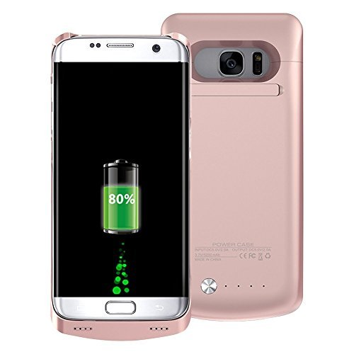 COOFUN Samsung Galaxy S7 Edge Charger Battery Case 5200mAh Ultra Slim Rechargeable Portable External Backup Battery Pack-Charger Cover-Protective Case Power Bank Case (Rose Gold)
