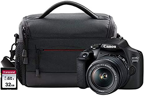 Canon EOS 2000D SLR Camera Kit Inc EF-S 18-55mm IS Lens, 32GB SD ...