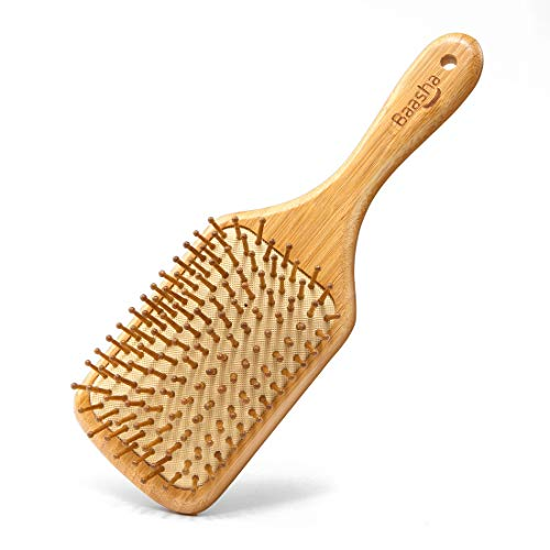Baasha 100% Natural Wooden Hair Brush With Bamboo Bristles, Natural Hair Brush Cushion, Bamboo Hair Brush Large Paddle Brush Wood Square Detangling Brush Natural Brush for Hair Brushes Natural Bristle ()