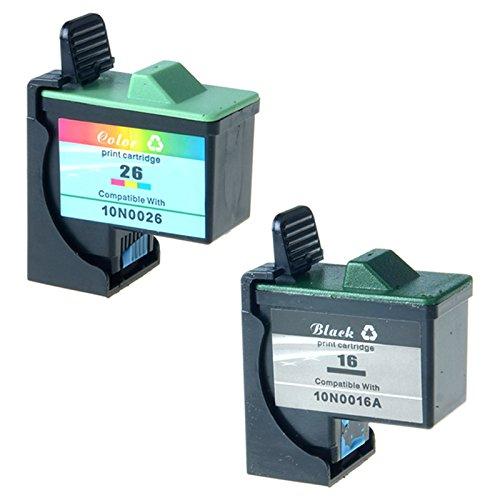 AMTONER Remanufactured 10N0202 (16, 26) Inkjet Ink Cartridges for X75 X1185 X1250 X1270 X2250 Z25 Z33 Z35 Z605 Z611 Z615 Z645 Printers 2/Pack, Black; Tri-Color