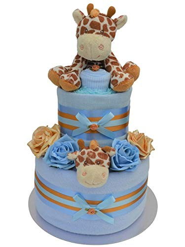 Blue 2 Tier Baby Boys Giraffe Themed Nappy Cake New Baby Shower Hamper Gift - with Free Delivery!