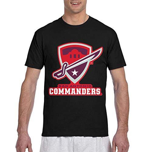 San-Antonio-Commanders Man's Comfortable Short Sleeve T Shirts S Black]()