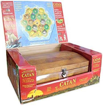 CATAN 3D Cofre de madera edición coleccionista con colonos de Catan y Catan: ciudades y caballeros: Amazon.es: Juguetes y juegos