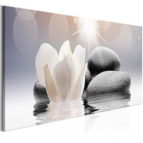 murando Cuadro en Lienzo Flores SPA 150x50 cm 1 Parte Impresion en Material Tejido no Tejido Impresion Artistica Imagen Grafica Decoracion de Pared Piedras Zen b-B-0268-b-a