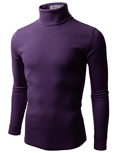 Doublju Mens Basic Long Sleeve Cotton Knit Turtleneck Sweater Purple Large