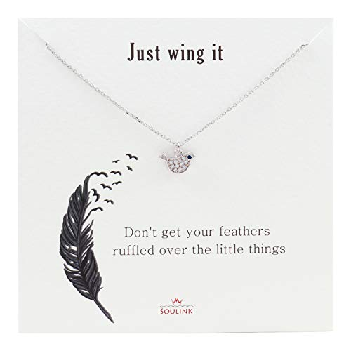 Soulink Just Wing Flying Bird Necklace for Women (Silver) (Bird Pendant Gold Plated Jewelry)