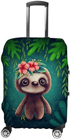 スーツケースカバー トラベルケース 荷物カバー 弾性素材 傷を防ぐ ほこりや汚れを防ぐ 個性 出張 男性と女性ナマケモノの赤ちゃん