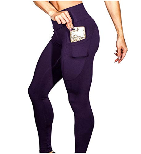 PASATO Women's Solid Workout Fitness Sports Gym Running Yoga Athletic Pants Tummy Control Stretch Yoga Leggings(Purple,S=US:XS)