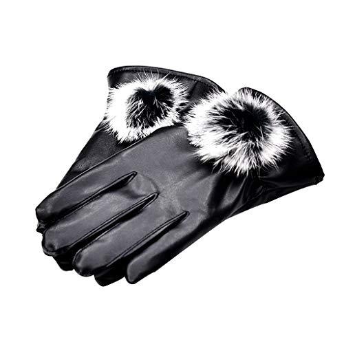 Tebatu Full Fingered Touch Screen Gloves, Coral Velvet Lined Solid Mittens Rabbit Fur Pompom Ball Wrist Warmer for Women Faux Leather ()