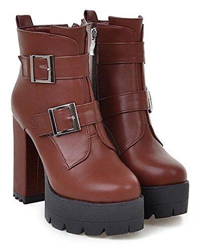 CHFSO Womens Stylish Waterproof Faux Fur Lined Buckle Zipper Chunky High Heel Platform Warm Ankle Winter Boots Brown WO7tWTdJJN