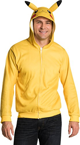 Rubie's Adult Pokemon Pikachu Unisex Hoodie, As Shown, Standard