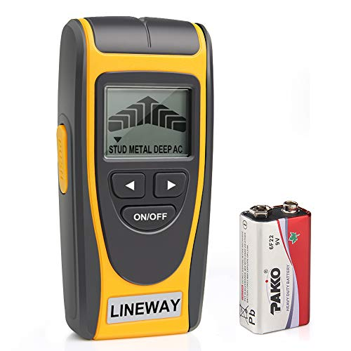 Stud Finder Wall Scanner, Lineway 4 in 1 Multi Function Electric Wall Stud Finder Sensor Detector Center Finding with LCD Display, Stud Finder with Sound Warning for Wood Live AC Wires Metal