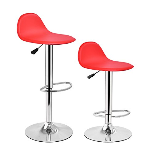 Costway Set of 2 Modern Swivel Chrome Barstools Adjustable Hydraulic Lift Chair Bar Stool Office Home Diner PU Leather Seat Multi-color (Red)