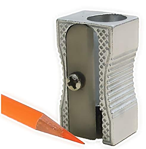 (24 Metal Rectangular Silver Pencil Sharpeners, 1 Hole Steel Blade - Manual Pocket Pencil Sharpeners For Standard Size Pencils, Art Pencils, Kids Use. By Mega Stationers)