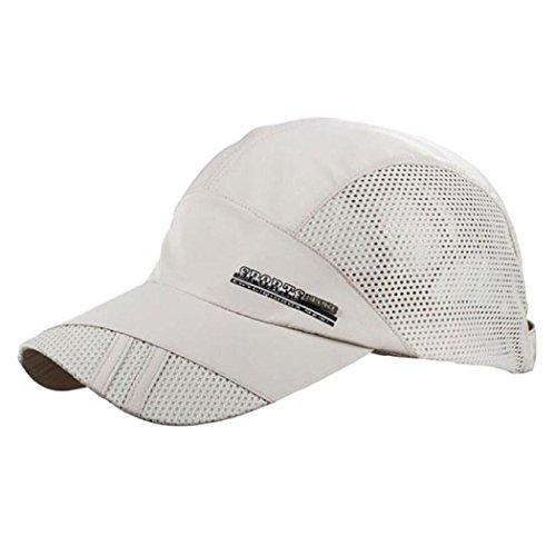 - Outdoor Sports Baseball Hats, Mesh Collapsible Quick-Dry Sunscreen Sun Hats Women Men (Beige)