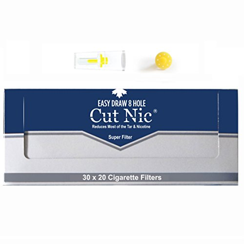 Cut-Nic 8 HOLE EASY DRAW Disposable Cigarette Filters 20 Packs (Total 600 Filters) In Display Box by Cut-Nic